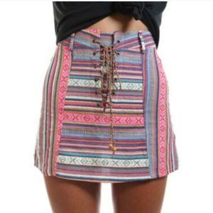 Western Boho patterned lace up mini skirt
